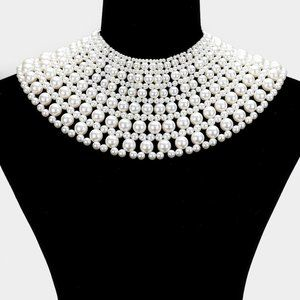 White Pearl Armor Bib Choker Necklace A